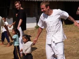 Having fun with village children